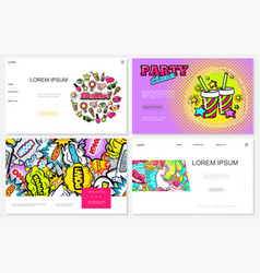 pop art colorful websites set vector image