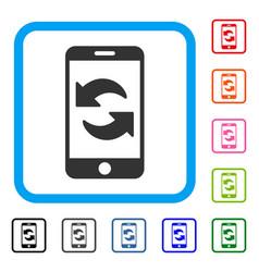 Refresh smartphone framed icon vector