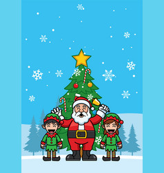 santa claus and elf cheering for christmas vector image