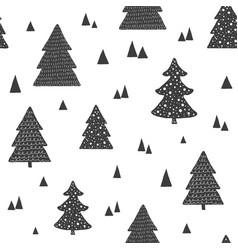 scandinavian seamless pattern with christmas trees vector image