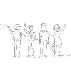 Schoolchildren - one line design style vector