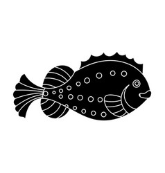 Sea fish icon in black style isolated on white vector