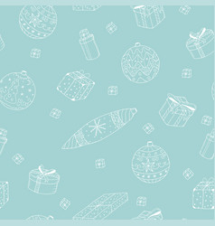 seamless winter pattern with hand drawn christmas vector image