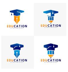 Set education logo design template icon vector