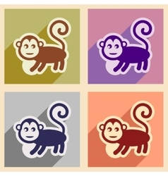 Set flat icons with long shadow monkey with vector