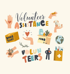 set icons volunteer assistance and help to vector image