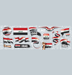 Set national flag iraq in various vector