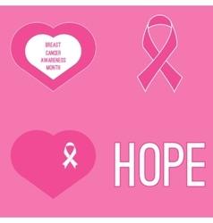 Set of cancer awareness month symbols vector