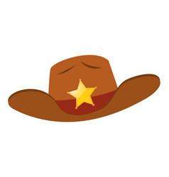 Sheriff hat with star badge vector