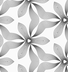 Slim gray hatched trefoils and wavy triangles vector