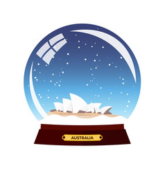 snow globe city sydney in snow globe winter vector image