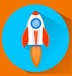 space rocket ship flying in the sky startup vector image
