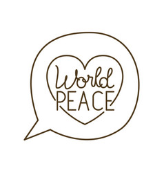 Speech bubble with world peace isolated icon vector