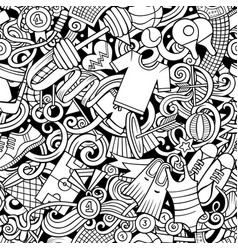 sports hand drawn doodles seamless pattern line vector image