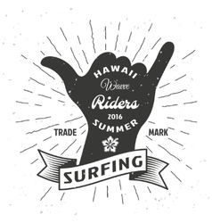 Surfing Hand Poster vector