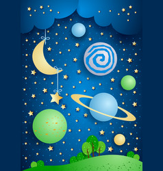 surreal landscape with hanging moon and planets vector image