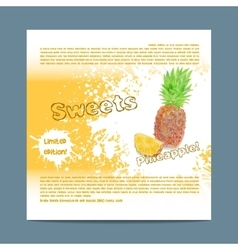 Template candy packaging Pineapple sweets vector