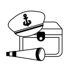 treasure chest hat and spyglass marine vector image