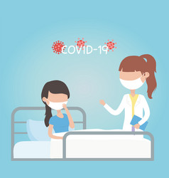 Virus covid 19 quarantine female doctor and sick vector