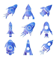 watercolor rockets icons set vector image
