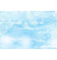 Watercolor snow falling scene for winter vector