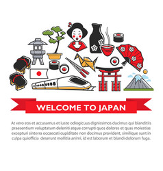 welcome to japan travel poster of japanese culture vector image