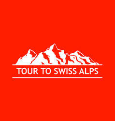white logo of swiss mountains vector image