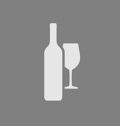 wine bottle and wineglass icon isolated on gray vector image