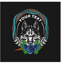 wolf head design template vector image