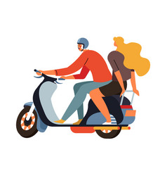 young man riding scooter motorcycle with blond vector image