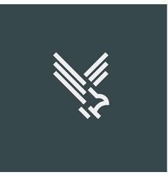 eagle symbol minimalist style flat line vector image