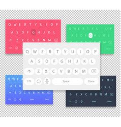 set of qwerty mobile keyboards keys vector image vector image