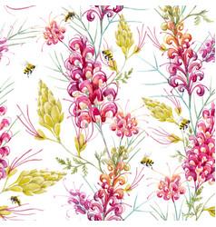 watercolor grevillea pattern vector image vector image