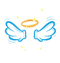 White angel wings and glowing golden halo isolated vector