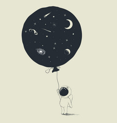 astronaut keeps a balloon with universe in him vector image vector image