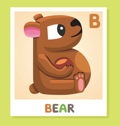 b is for bear letter b bear cute vector image vector image