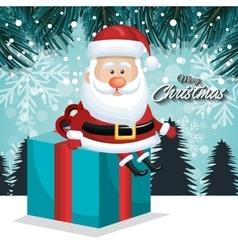 card xmas santa big gift landscape vector image vector image