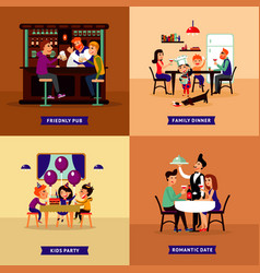 Colorful eating people concept vector