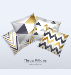 decorative pillows patterns realistic set vector image vector image