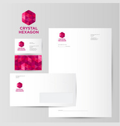 red crystal hexagon logo identity vector image