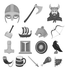 vikings and attributes monochrome icons in set vector image vector image