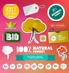 BIO - 100 Natural Labels Set on Blurred Background vector image vector image