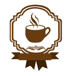Brown border heraldic decorative ribbon with cup vector