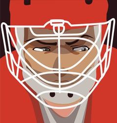 ice hockey player red helmet portret vector image