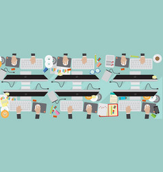 8000x3200 pixel flat view business workplace vector image