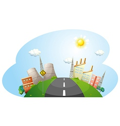 A road going to the city with factories vector image