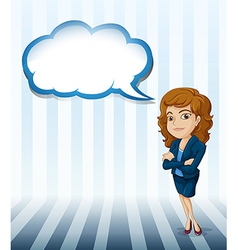 A woman with an empty cloud callout vector