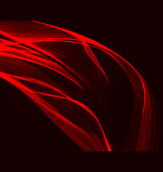 abstract red waves on the dark background vector image