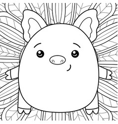 adult coloring bookpage a kawaii pig on the vector image