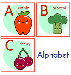 an alphabet with food characters letters a to c vector image